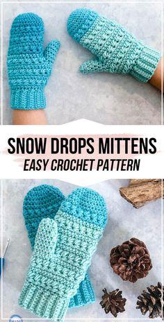 crochet Snow Drops Mittens pattern - easy crochet fingerless-mittens pattern for beginners Crochet Mitts, Crochet Mittens Free Pattern, Crochet Slippers, Crochet Stitches, Crochet Patterns, Scarf Patterns, Knitting Patterns, Crochet Toddler, Quick Crochet