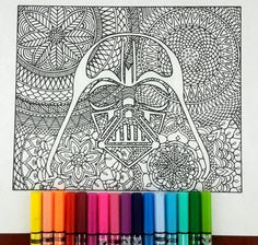 This is a wonderful book coloring page for grown Ups of Star Wars, exclusive . Use your imagination with the color therapy and to color with