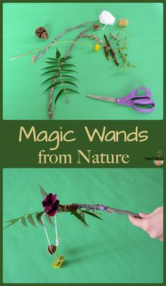 Forest School Magic Wands from the new book, Play the Forest School Way Forest School Activities, Nature Activities, Kindergarten Activities, Magic Theme, Outdoor Classroom, Outdoor School, Forest Party, Scandinavian Nursery, Forest Nursery