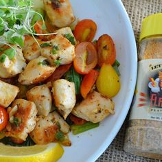 @flavorgod Lemon Chicken and tomatoes  Ingredients: 2 large - chicken breast ( cubed 3 tablespoons - olive oil 1 tsp. - #flavorgod S&P 3 - garlic cloves, crushed 1 - lemon, juice 1⁄4 cup - parsley,chopped @flavorgod lemon & garlic handful - cherry tomatoes, cut in 1/2 handful - chopped scallions, about 1/2 inch long  DIRECTIONS: 1.Pan sear chicken cubes with 1 tbsp olive oil, 3 minutes in a frying pan over medium-high heat. 2.Remove chicken from the pan. 3. Now reheat pan and add 1 tbsp. oil…