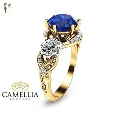 Sapphire Engagement Ring Blue Sapphire Ring Unique Flower Design Ring - Wedding and engagement rings (*Amazon Partner-Link)