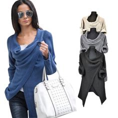 daecd5b23cefe Women Poncho long sleeve 4 colors office Jacket Coat Irregular Cardigan o  neck loose autumn style casual Top outfits QAF488E-in Basic Jackets from  Women s ...