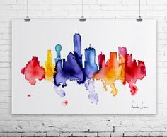 Dallas City Watercolor Painting - Art Print - Wall Art - skyline poster