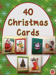 Christmas Cards! 40 beautiful Christmas Cards for you to give to your friends, students, parent volunteers etc. There are TWO cards per page and all 40 cards are different.