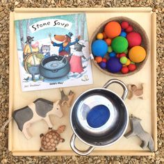 Create your own story sack with this classic folktale. Bring the tale to life and let your children create their own Stone Soup! Motor Skills Activities, Infant Activities, Craft Activities, Harvest Festival Crafts, Montessori, Book Area, Story Sack, Create Your Own Story, Book Baskets