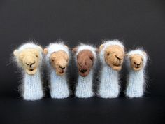 Camel Finger Puppets Family -needle felted from wool, knitted with vintage yarn