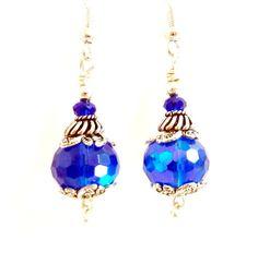 Blue Glass Earrings Deep Blue Silver Sapphire by Elegencebyelaine, $22.75