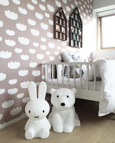 ferm LIVING Cloud Wallpaper: http://www.fermliving.com/webshop/shop/vip-sale-40/cloud-wallpaper-rose.aspx  ferm LIVING The Dorm and Little Dorm: http://www.fermliving.com/webshop/shop/kids-room/kids-wall-decoration.aspx