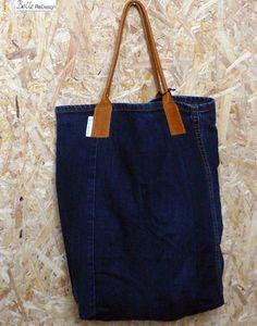 Spijkertas s - spijkerbroek & bruin leer van BelleReDesign op DaWanda.com