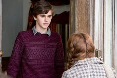Ep. 3 - Whats Wrong with Norman (Bates Motel) Pic 8/14 - Norman is in tears as he tries to answer his mother's questions: why would he want to keep that thing? He just doesn't know. Norma decides the answers can wait. She leaves - It's time to take action. Emma arrives and wants to talk about the dead girl - and despite Norman's protests, he eventally lets her in. AETV.com