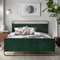 Shop Colette Platform Bed - On Sale - Overstock - 28165569 Green Headboard, Green Bedding, Bedroom Green, Bedroom Furniture Stores, Furniture Deals, House Furniture, Upholstered Queen Bed Frame, Upholstered Platform Bed, Queen Platform Bed