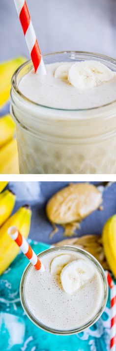 Peanut Butter Banana Smoothie from The Food Charlatan. The easiest, tastiest smoothie ever! This protein packed recipe is from my BFF Sarah, who says it's basically an excuse to drink peanut butter. I'm all over it. #ad