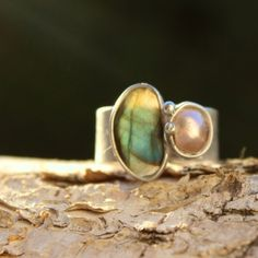 Light Reflection - Dual Stone Metal Soldered Ring with Labradorite and river Pearl $25  by AtelierQ