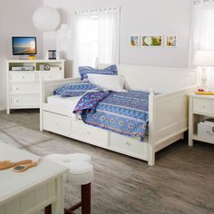 Full Size White Wood Daybed With Pull Out Trundle from Hearts Attic. Shop more products from Hearts Attic on Wanelo.