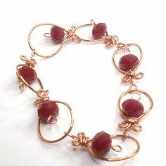 Wirework bracelet handmade big dark red crystals copper wire size 7 1/2 by Pat2 #Pat2 #link