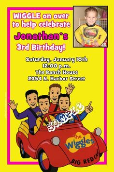 Wiggles Birthday Invitations -  Get these invitations RIGHT NOW. Design yourself online, download and print IMMEDIATELY! Or choose my printing services. No software download is required. Free to try!