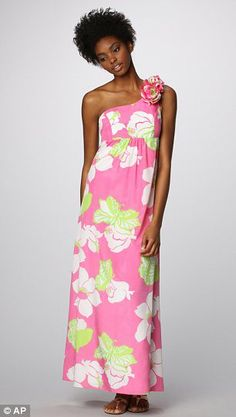 Pink and green floral maxi dress