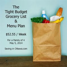 The Tight Budget Grocery List with Menu - May 5 Feed a family of 4 three square meals for $52.55 this week