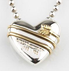 "TIFFANY & CO. 925 & 18K YELLOW GOLD ARROW AROUND A PUFFY HEAR NECKLACE 17"" L #TiffanyCo #Pendant"