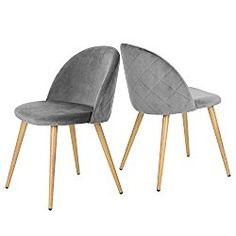 GreenForest Dining & Leisure Chair. Wood Legs Velvet Cushion Seat and Back for Dining and Living Room Chairs, Set of 2 Grey
