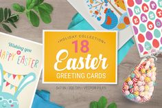 18 Easter Greeting Cards by miumiu on Creative Market