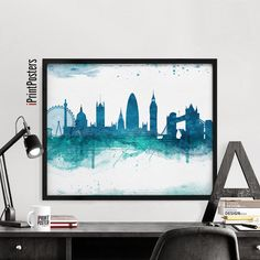 London poster art print Watercolour skyline Wall by iPrintPosters