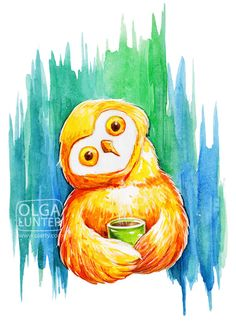 'Cute Owl with a Cup of Coffee' by Olga Yatsenko