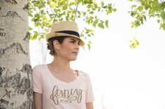 Fancy Graphic Tee V Neck Blush by simplysweetapparel on Etsy
