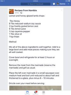 Honey Glaze, South African Recipes, Lamb Chops, Home Food, Afrikaans, Dessert Recipes, Desserts, Lazy, Postres