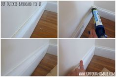 DIY Quickie Home Fix-its! Great painting tip for touching up baseboards and wall trim - how to caulk baseboards - easy home repair! www.yayforhandmade.com (Jan 2015)