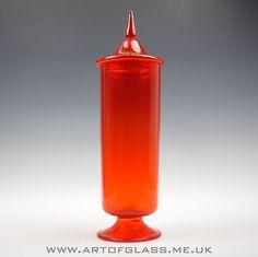 20 tall Italian Empoli orange pedestal glass apothecary jar