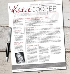 the cooper resume template design graphic design marketing sales real estate - Awesome Resume Template