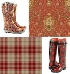 Floral Boots and wallpaper combination Paisley Wallpaper, Plaid Wallpaper, Floral Boots, Glen Plaid, Play Houses, Houndstooth, Rain Boots, Ralph Lauren, Inspire
