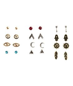 12 Pairs Stud Earrings | Gold-/silver-colored mix | Ladies | H&M US