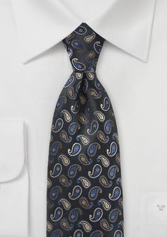 Paisley Drops in Black with Blue Accents - This tie is as exciting to look at as it is to wear. The Paisley Pattern literally looks as if these ornate pattern is rolling down Paisley Tie, Paisley Pattern, Tie Shop, Wedding Ties, Blue Ties, Blue Accents, Mens Suits, Blues, Neckties