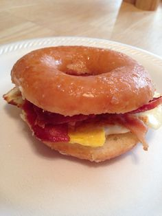 Krispy Kreme, bacon and egg breakfast sandwich...hubby approved! I did not indulge as I'm trying to eat healthier but DH requested a photo shoot of his masterpiece :)
