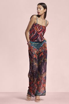 Flowing strappy jumpsuit with an ethnic print inspired by our travels in Africa