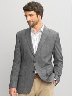 Banana Republic Tailored herringbone pinstripe two-button blazer