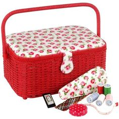 """Because I need this. $47.50 on sale at Cath Kidston USA. """"Button Rose Luxury Sewing Basket"""""""