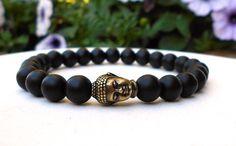 Mens Buddah Bracelet Mens Black Bracelet Mens by BlueStoneRiver, $25.95