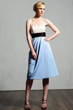 Strapless satin bridesmaid dress with empire waist