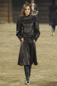 Yes... I grew up in the 70's.  Fringe was cool for almost the whole decade.  Glad this trend is coming back for the fall. Chanel Pre-Fall 2014 - Luxurious leather and fringe.