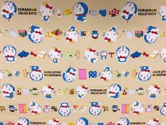 [Rakuten] [Ox] ★ 50cm unit continued to cut ★ Doraemon × Hello Kitty collaboration! Striped [Kitty fabric Doraemon cloth Sanrio Fujiko professional kitty Doraemon] lucky5days: handmade shops fabrics