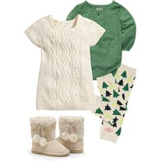 """Baby Girl Holiday Outfit (Green)"" I'm not a big fan of pink. This is an adorable non-pink outfit for a little girl! Little Girl Fashion, My Little Girl, My Baby Girl, Kids Fashion, Baby Baby, Baby Girls, Baby Outfits, Outfits Niños, Baby Kind"