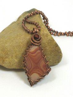 Wonderstone With Copper Wire Viking Knit Frame Pendant   BDJDesigns - Jewelry on ArtFire