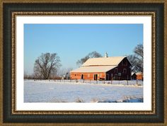 Red Winter Barn Framed Print By Bonfire #Photography