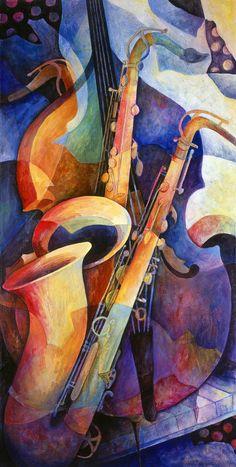 "#Art & #Music merge; ""Sexy Sax"" by @Susanne Woods Clark [mug raised to @BaristaOnDutY |_|)]"