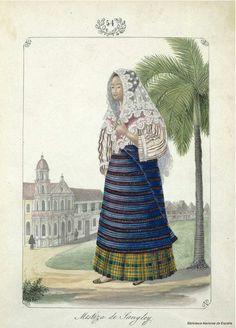 Mestiza de Sangley. Lozano, José Honorato 1821- — Dibujo — 1847 Philippines Outfit, Philippines Fashion, Philippines Culture, Arte Filipino, Filipino Culture, Manila, Filipino Fashion, Baybayin, Dress Design Drawing