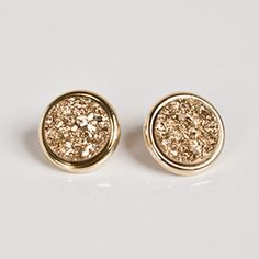 gold studs- Marcia Moran, gold druzy stud earrings,