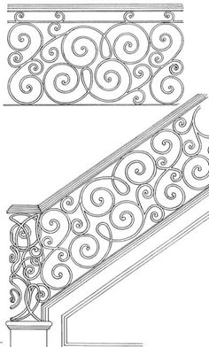 """Hand Built Rails, Iron Railing, Balconies, Spirals, Handmade In America Since Wrought Iron Stair Railing, Stair Railing Design, Metal Stairs, Stair Handrail, Railings, Rod Iron Railing, Exterior Handrail, Interior Staircase, Iron Balcony"